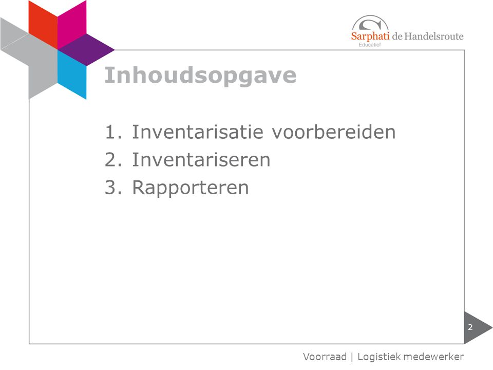 Inhoudsopgave 2 1.Inventarisatie voorbereiden 2.Inventariseren 3.Rapporteren Voorraad | Logistiek medewerker