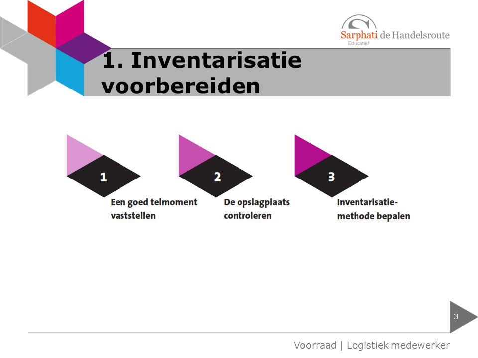1. Inventarisatie voorbereiden 3 Voorraad | Logistiek medewerker