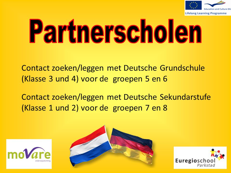 Contact zoeken/leggen met Deutsche Grundschule (Klasse 3 und 4) voor de groepen 5 en 6 Contact zoeken/leggen met Deutsche Sekundarstufe (Klasse 1 und 2) voor de groepen 7 en 8