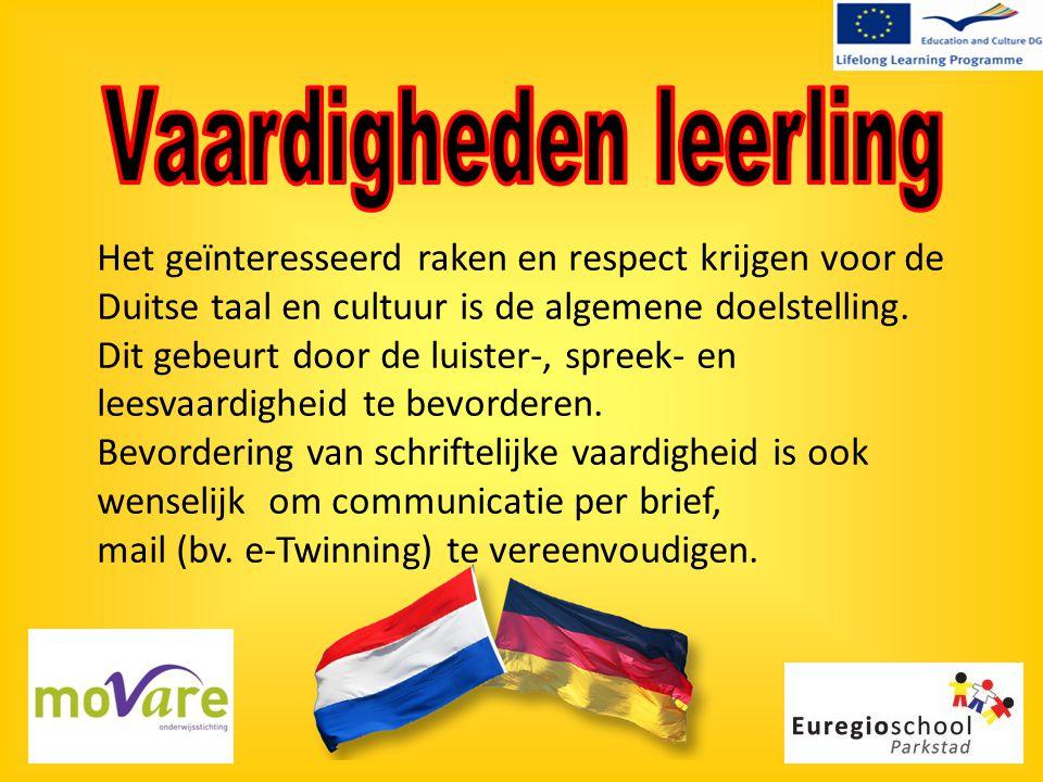 Het geïnteresseerd raken en respect krijgen voor de Duitse taal en cultuur is de algemene doelstelling. Dit gebeurt door de luister-, spreek- en leesv