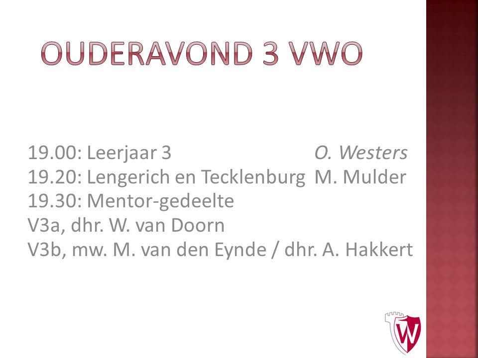 19.00: Leerjaar 3O. Westers 19.20: Lengerich en TecklenburgM. Mulder 19.30: Mentor-gedeelte V3a, dhr. W. van Doorn V3b, mw. M. van den Eynde / dhr. A.