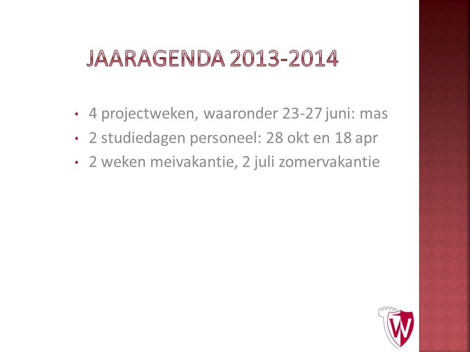 4 projectweken, waaronder 23-27 juni: mas 2 studiedagen personeel: 28 okt en 18 apr 2 weken meivakantie, 2 juli zomervakantie
