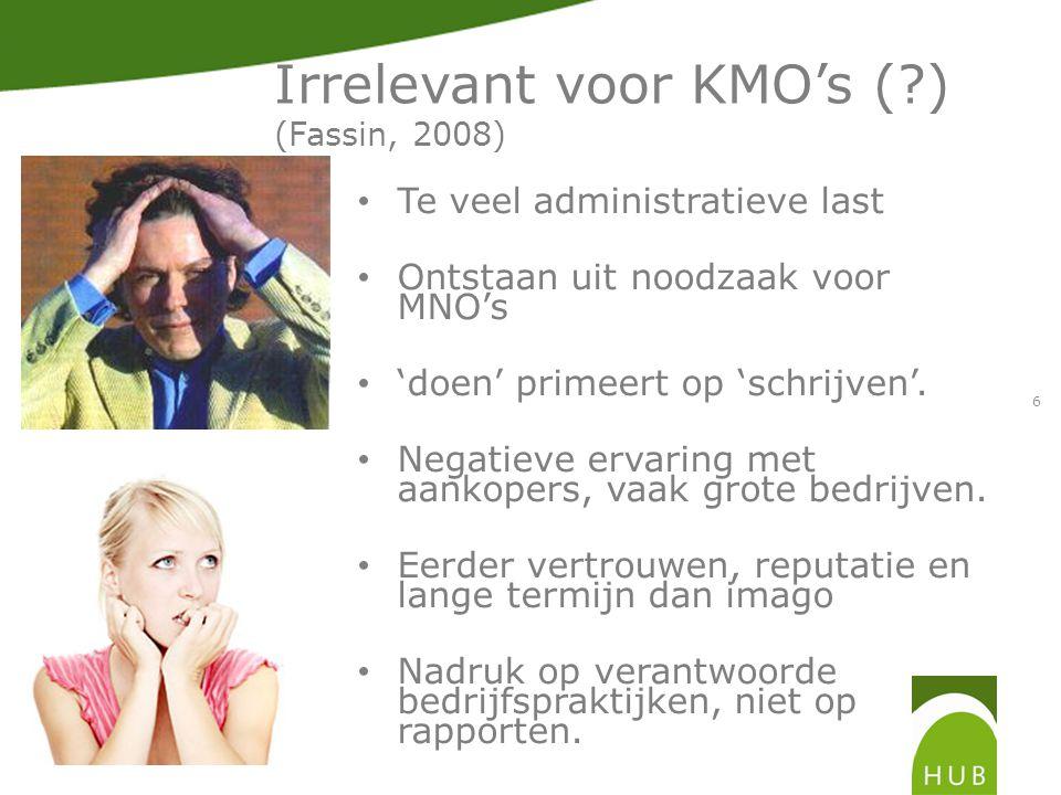 6 Irrelevant voor KMO's ( ) (Fassin, 2008) Te veel administratieve last Ontstaan uit noodzaak voor MNO's 'doen' primeert op 'schrijven'.