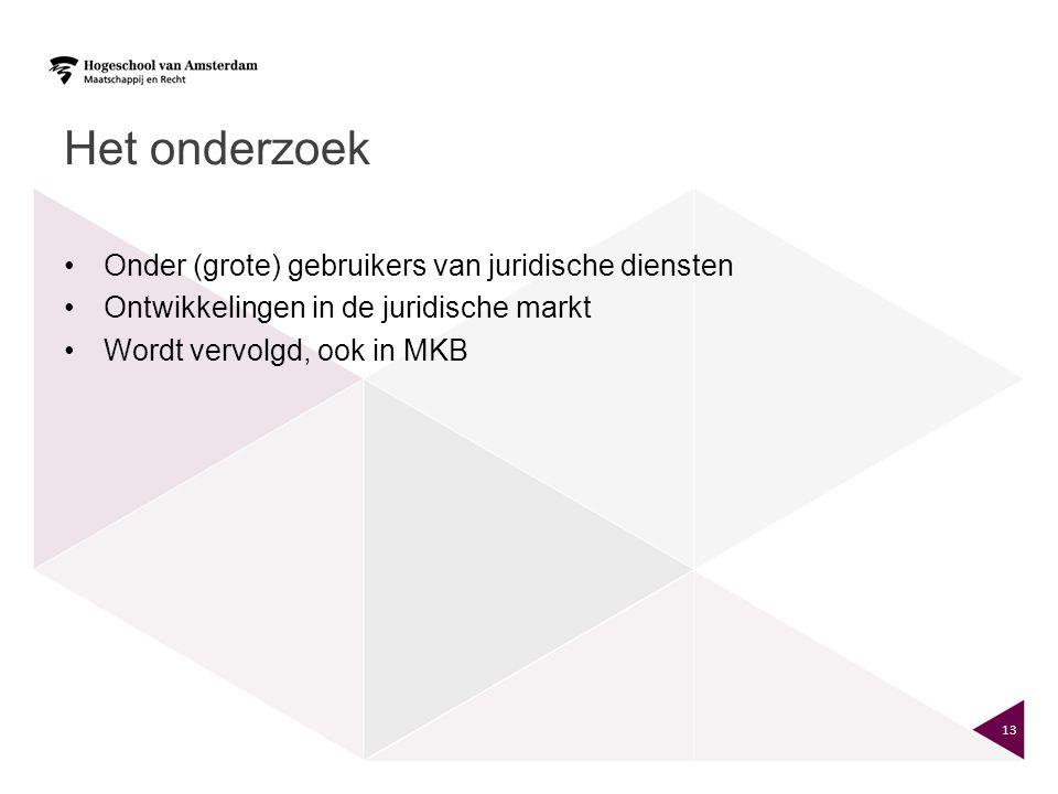 Het onderzoek Onder (grote) gebruikers van juridische diensten Ontwikkelingen in de juridische markt Wordt vervolgd, ook in MKB 13