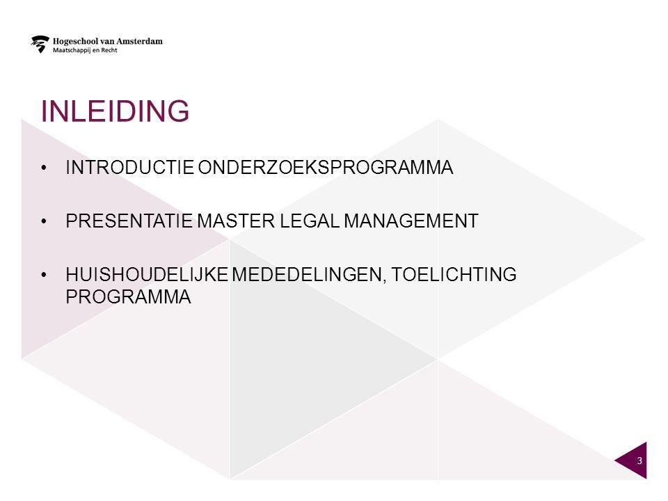 INLEIDING INTRODUCTIE ONDERZOEKSPROGRAMMA PRESENTATIE MASTER LEGAL MANAGEMENT HUISHOUDELIJKE MEDEDELINGEN, TOELICHTING PROGRAMMA 3