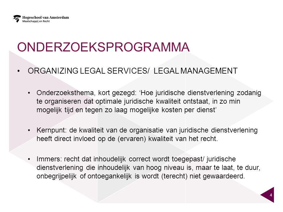 ONDERZOEKSPROGRAMMA ORGANIZING LEGAL SERVICES/ LEGAL MANAGEMENT Onderzoeksthema, kort gezegd: 'Hoe juridische dienstverlening zodanig te organiseren d