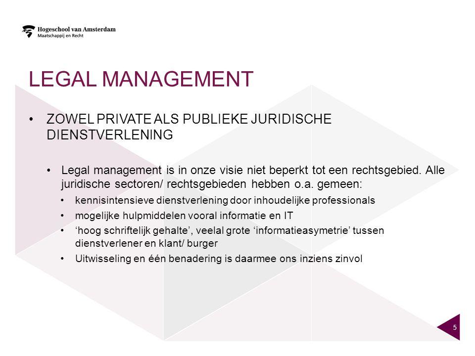 LEGAL MANAGEMENT ZOWEL PRIVATE ALS PUBLIEKE JURIDISCHE DIENSTVERLENING Legal management is in onze visie niet beperkt tot een rechtsgebied. Alle jurid