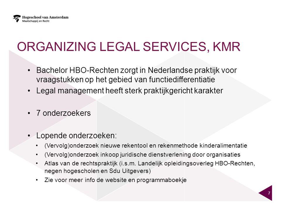ORGANIZING LEGAL SERVICES, KMR Bachelor HBO-Rechten zorgt in Nederlandse praktijk voor vraagstukken op het gebied van functiedifferentiatie Legal mana