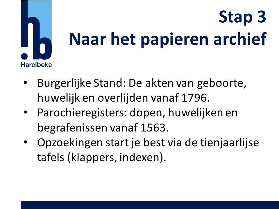 Stap 3 Naar het papieren archief Burgerlijke Stand: De akten van geboorte, huwelijk en overlijden vanaf 1796. Parochieregisters: dopen, huwelijken en