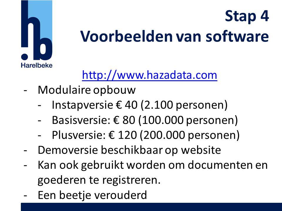 Stap 4 Voorbeelden van software http://www.hazadata.com -Modulaire opbouw -Instapversie € 40 (2.100 personen) -Basisversie: € 80 (100.000 personen) -P