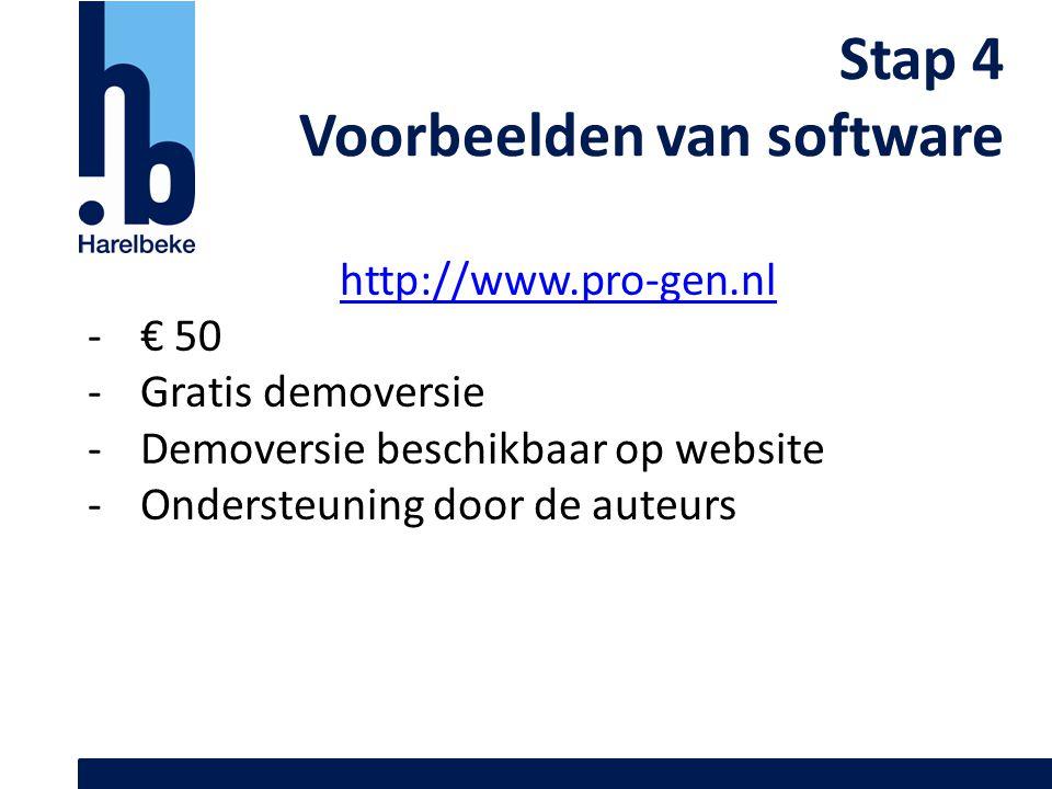 Stap 4 Voorbeelden van software http://www.pro-gen.nl -€ 50 -Gratis demoversie -Demoversie beschikbaar op website -Ondersteuning door de auteurs