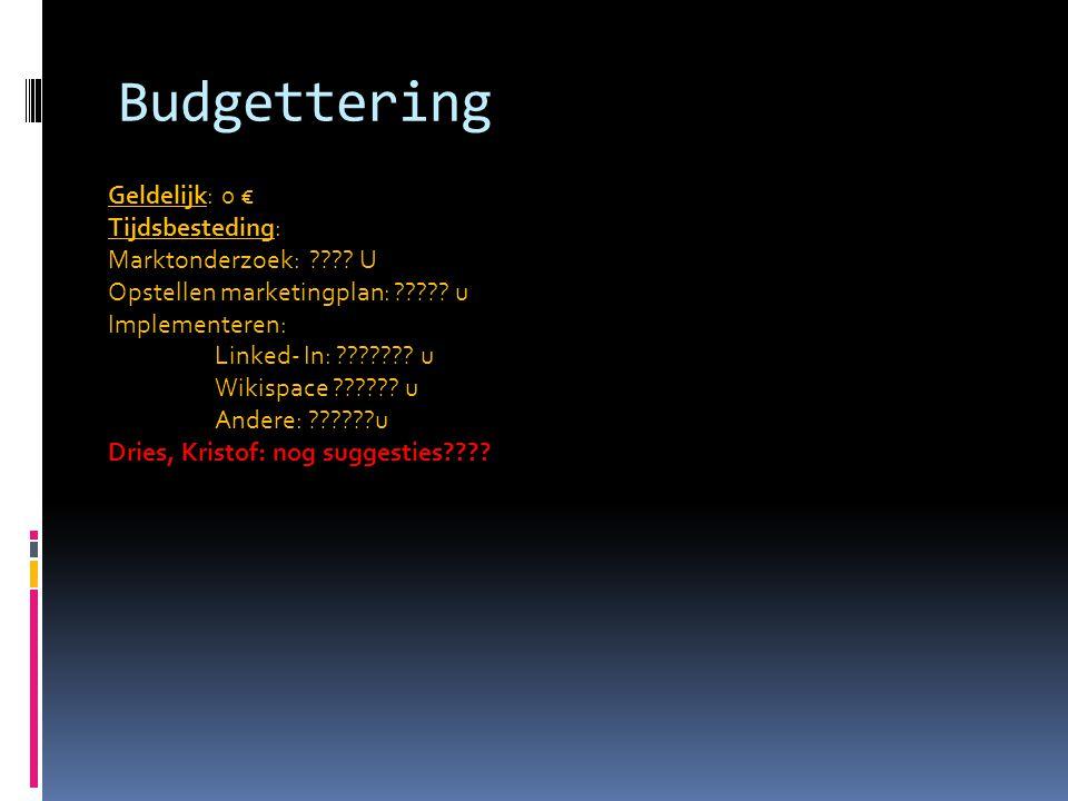 Budgettering Geldelijk: 0 € Tijdsbesteding: Marktonderzoek: ???.