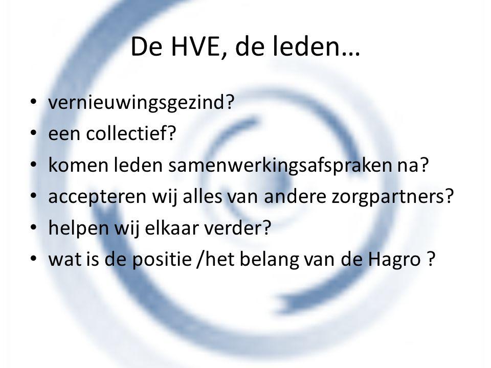 De HVE, de leden… vernieuwingsgezind? een collectief? komen leden samenwerkingsafspraken na? accepteren wij alles van andere zorgpartners? helpen wij