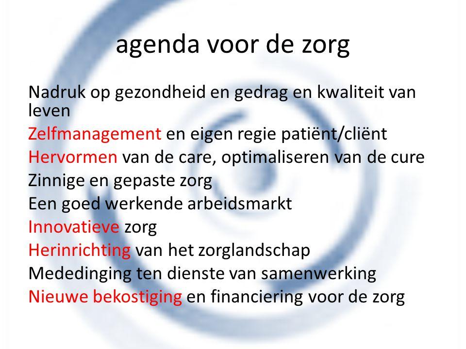 agenda voor de zorg Nadruk op gezondheid en gedrag en kwaliteit van leven Zelfmanagement en eigen regie patiënt/cliënt Hervormen van de care, optimali
