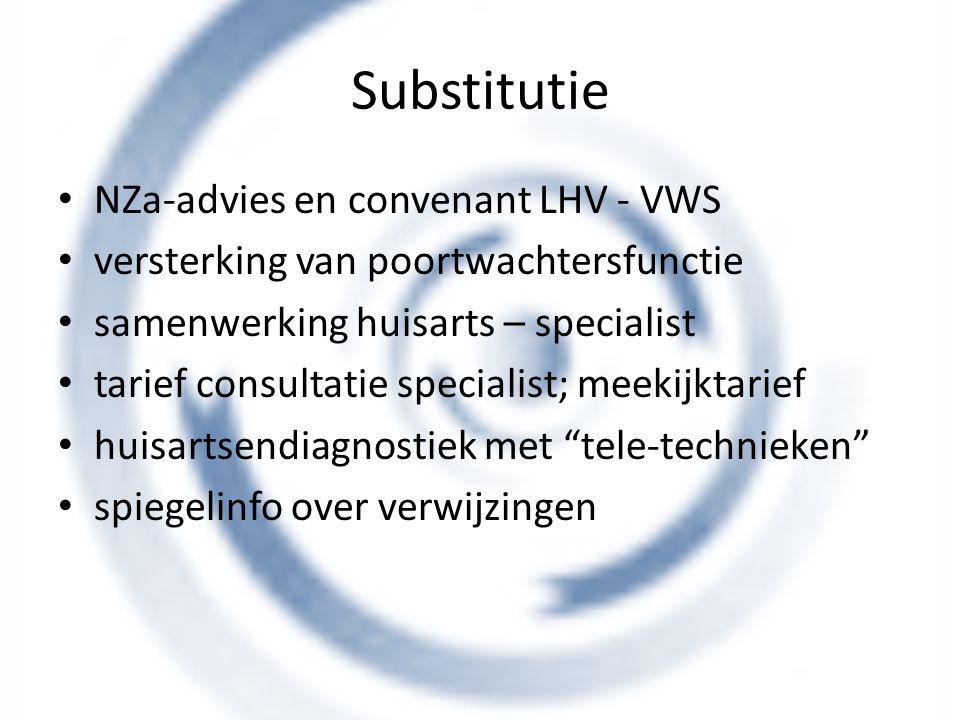 Substitutie NZa-advies en convenant LHV - VWS versterking van poortwachtersfunctie samenwerking huisarts – specialist tarief consultatie specialist; m