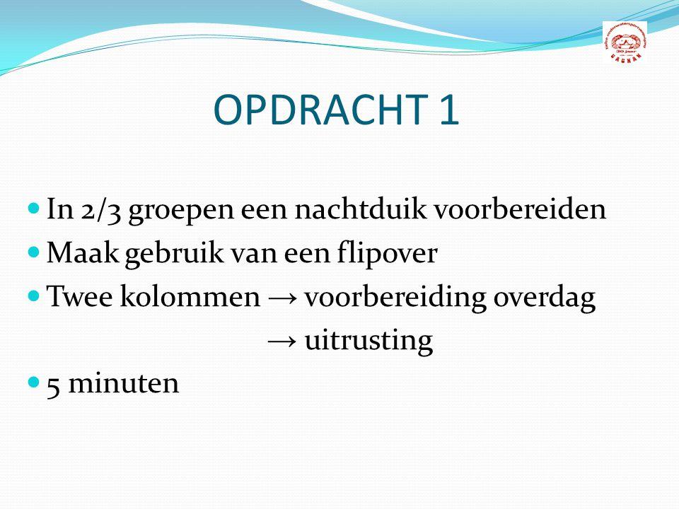 OPDRACHT 1 In 2/3 groepen een nachtduik voorbereiden Maak gebruik van een flipover Twee kolommen → voorbereiding overdag → uitrusting 5 minuten