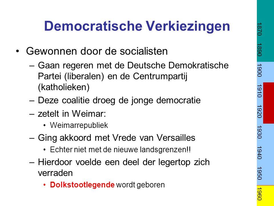 Democratische Verkiezingen Gewonnen door de socialisten –Gaan regeren met de Deutsche Demokratische Partei (liberalen) en de Centrumpartij (katholieke