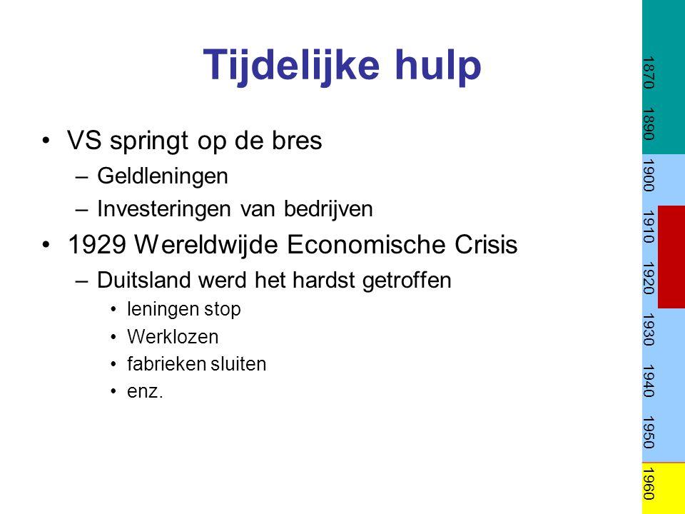 Tijdelijke hulp VS springt op de bres –Geldleningen –Investeringen van bedrijven 1929 Wereldwijde Economische Crisis –Duitsland werd het hardst getrof