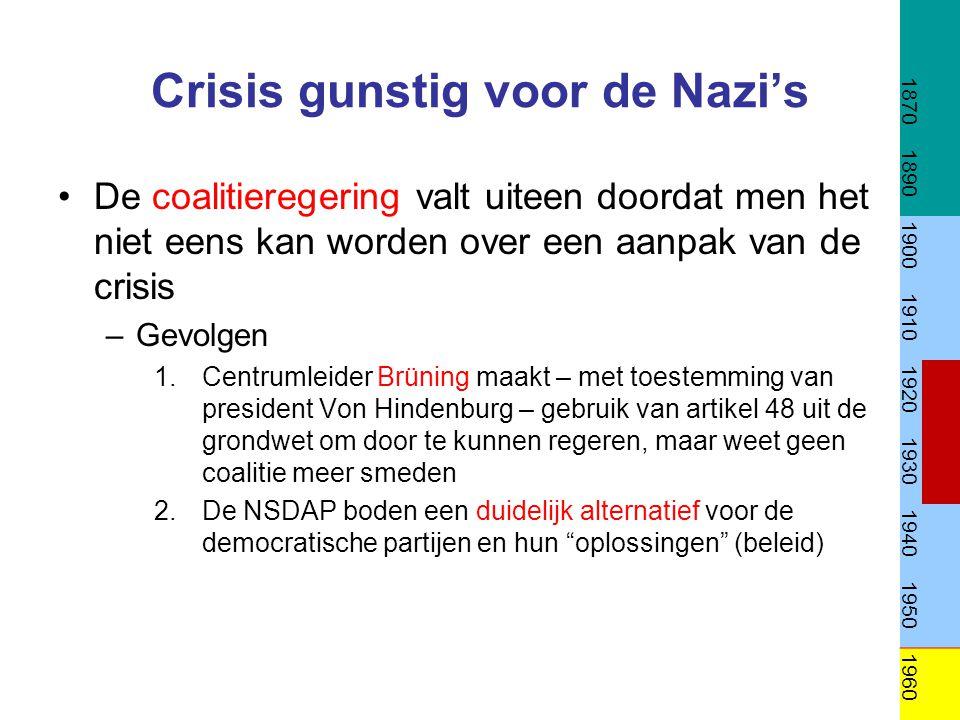 Crisis gunstig voor de Nazi's De coalitieregering valt uiteen doordat men het niet eens kan worden over een aanpak van de crisis –Gevolgen 1.Centrumle
