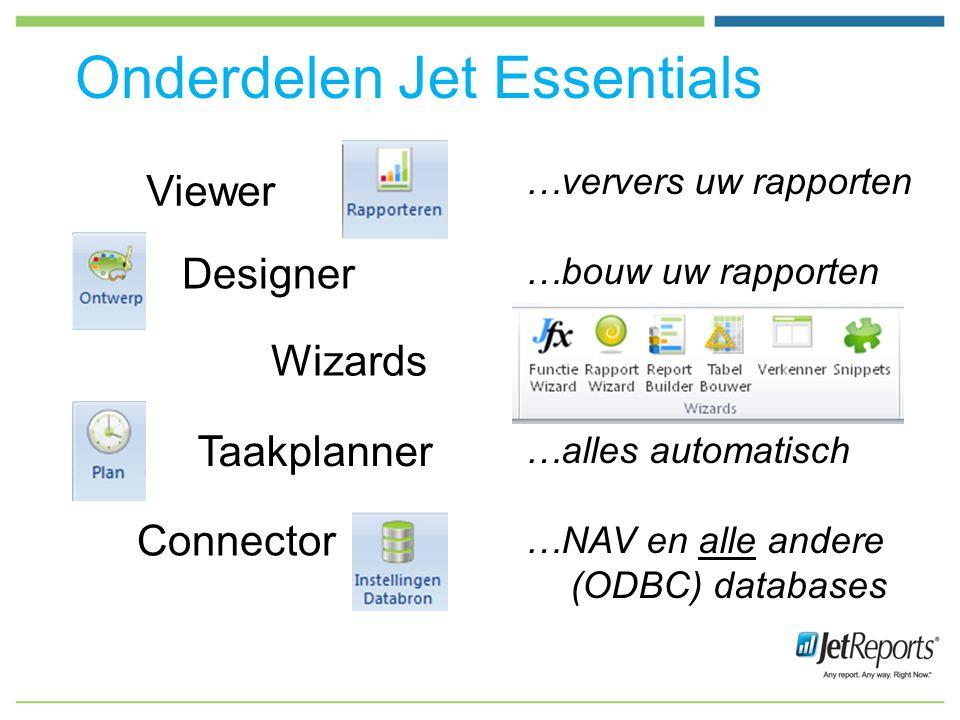 …ververs uw rapporten …bouw uw rapporten …klik, klak, klaar …alles automatisch …NAV en alle andere (ODBC) databases Onderdelen Jet Essentials Viewer Designer Connector Taakplanner Wizards