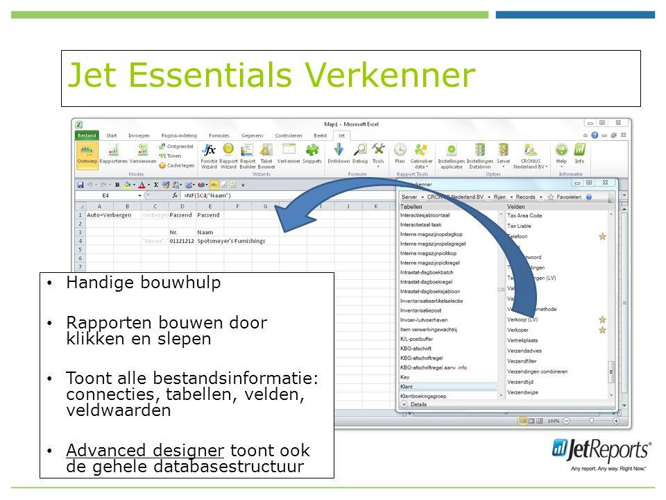 Jet Essentials Verkenner Handige bouwhulp Rapporten bouwen door klikken en slepen Toont alle bestandsinformatie: connecties, tabellen, velden, veldwaarden Advanced designer toont ook de gehele databasestructuur