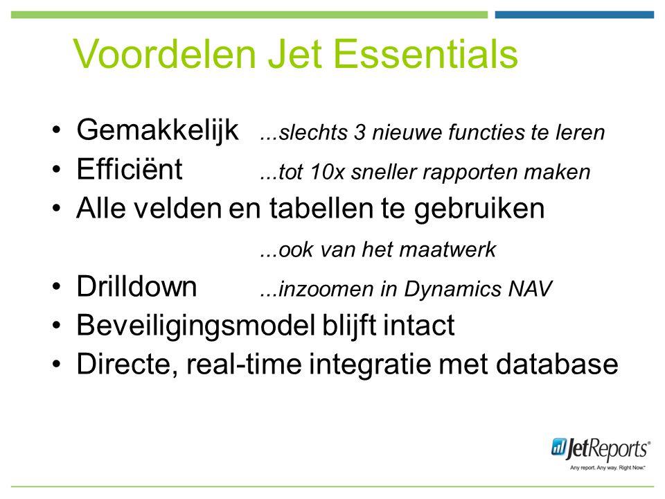 Voordelen Jet Essentials Gemakkelijk...slechts 3 nieuwe functies te leren Efficiënt...tot 10x sneller rapporten maken Alle velden en tabellen te gebruiken...ook van het maatwerk Drilldown...inzoomen in Dynamics NAV Beveiligingsmodel blijft intact Directe, real-time integratie met database