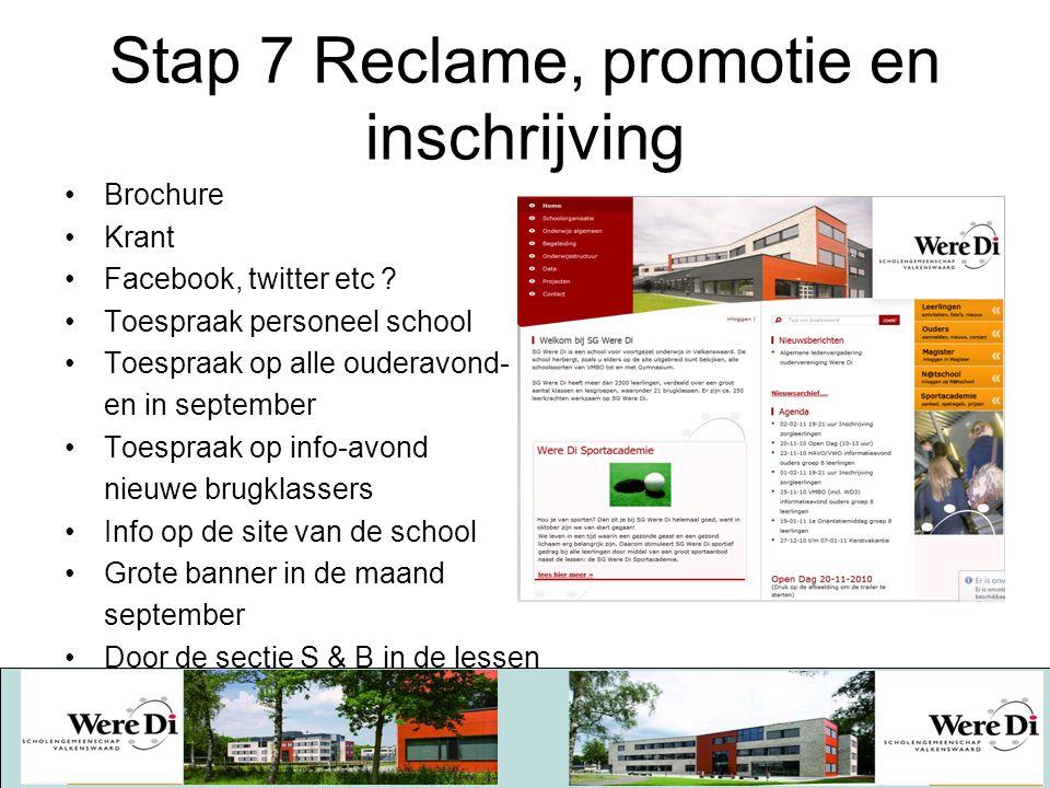 Stap 7 Reclame, promotie en inschrijving Brochure Krant Facebook, twitter etc ? Toespraak personeel school Toespraak op alle ouderavond- en in septemb