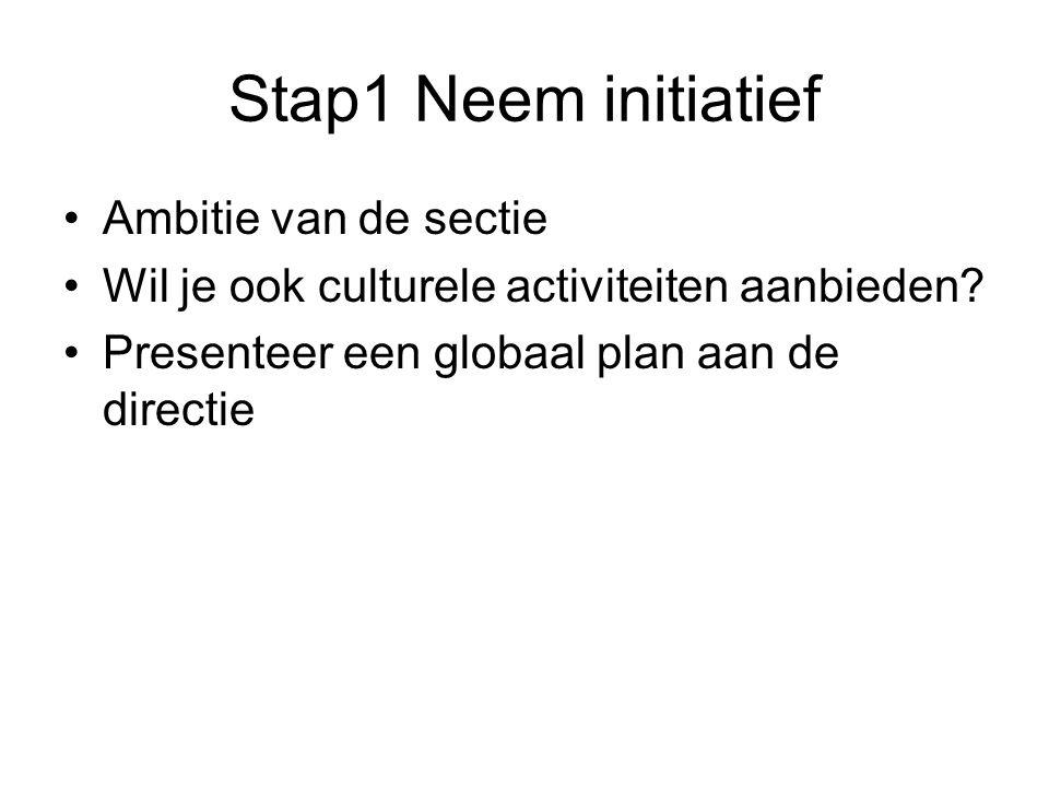 Stap1 Neem initiatief Ambitie van de sectie Wil je ook culturele activiteiten aanbieden? Presenteer een globaal plan aan de directie