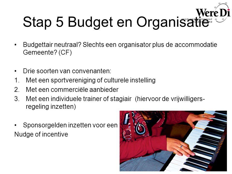 Stap 5 Budget en Organisatie Budgettair neutraal? Slechts een organisator plus de accommodatie Gemeente? (CF) Drie soorten van convenanten: 1.Met een