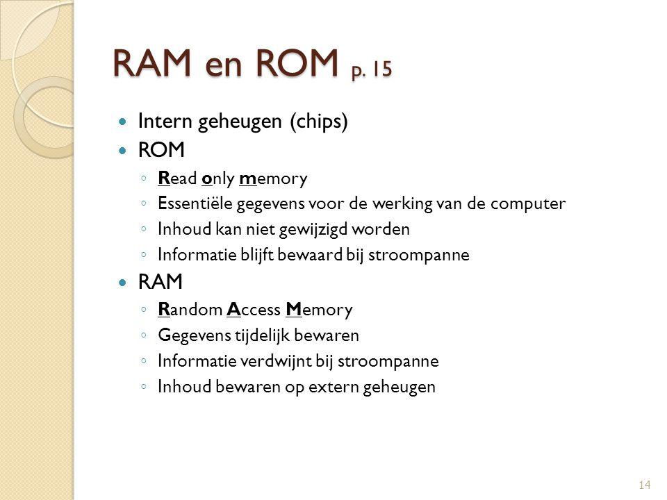 RAM en ROM p. 15 Intern geheugen (chips) ROM ◦ Read only memory ◦ Essentiële gegevens voor de werking van de computer ◦ Inhoud kan niet gewijzigd word