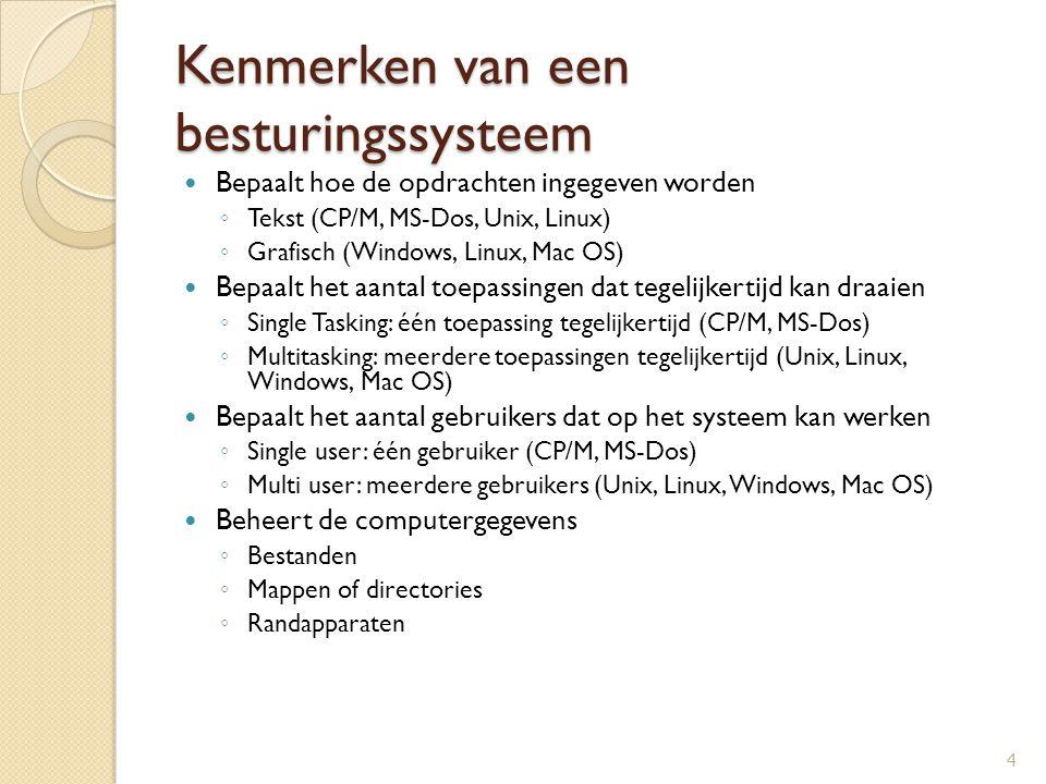 Kenmerken van een besturingssysteem Bepaalt hoe de opdrachten ingegeven worden ◦ Tekst (CP/M, MS-Dos, Unix, Linux) ◦ Grafisch (Windows, Linux, Mac OS)