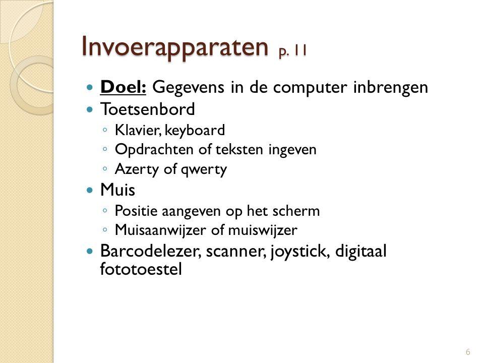 Invoerapparaten p. 11 Doel: Gegevens in de computer inbrengen Toetsenbord ◦ Klavier, keyboard ◦ Opdrachten of teksten ingeven ◦ Azerty of qwerty Muis