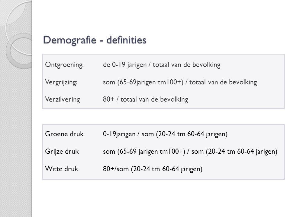 ontgroening: = de 0-19 jarigen/totaal van de bevolking ontgroening Daling van het aantal jongeren in een maatschappij (naast, b v, de vergrijzing) vergrijzing: = som(65-69jarigen:100+)/totaal van de bevolking vergrijzing ontwikkeling waarin het aantal van de ouderen in de totale (beroeps)bevolking toeneemt; situatie waarin het aantal ouderen groot is en het aantal jongeren afneemt verzilvering: = 80+/totaal verzilvering groene druk: = 0-19jarigen/som(20-24 jarigen:60-64 jarigen) Groene druk De verhouding tussen het aantal personen van 0 tot 20 jaar en het aantal personen van 20 tot 65 jaar.