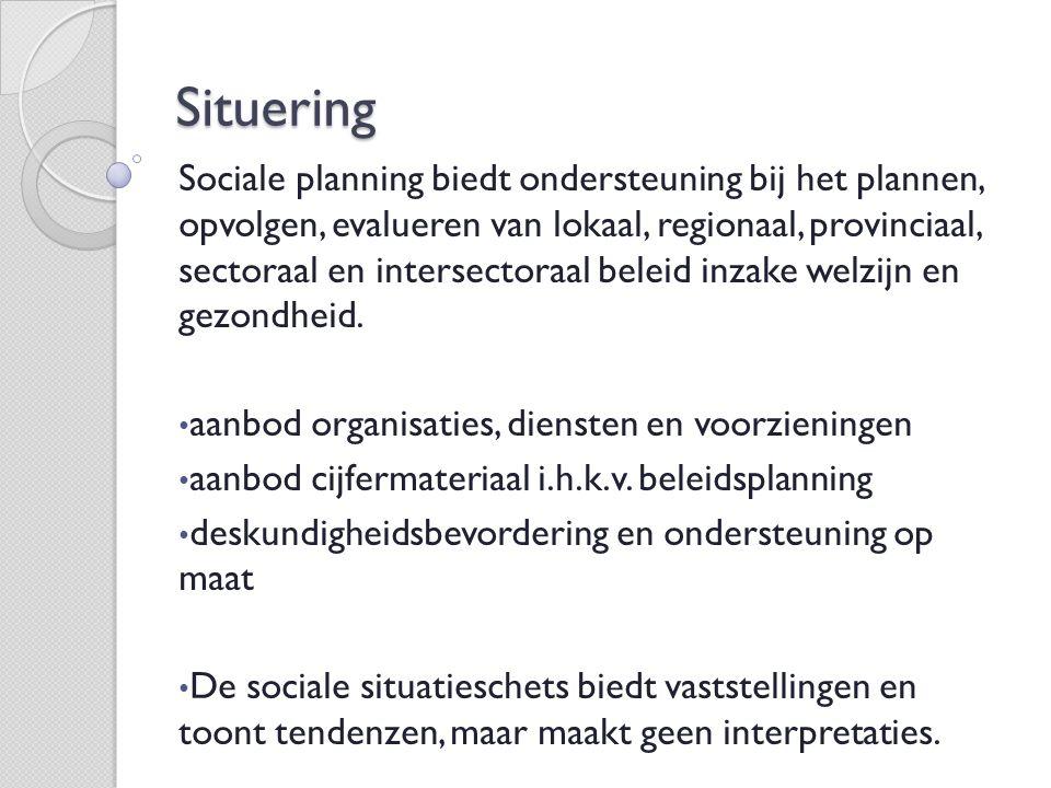 Situering Sociale planning biedt ondersteuning bij het plannen, opvolgen, evalueren van lokaal, regionaal, provinciaal, sectoraal en intersectoraal beleid inzake welzijn en gezondheid.