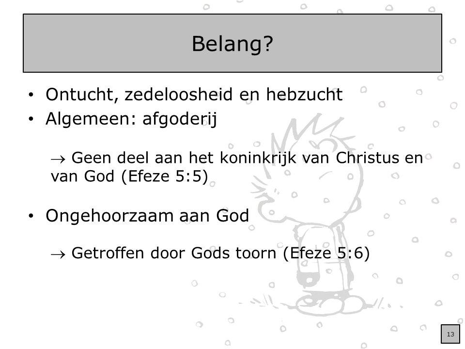Belang? Ontucht, zedeloosheid en hebzucht Algemeen: afgoderij Ongehoorzaam aan God  Geen deel aan het koninkrijk van Christus en van God (Efeze 5:5)