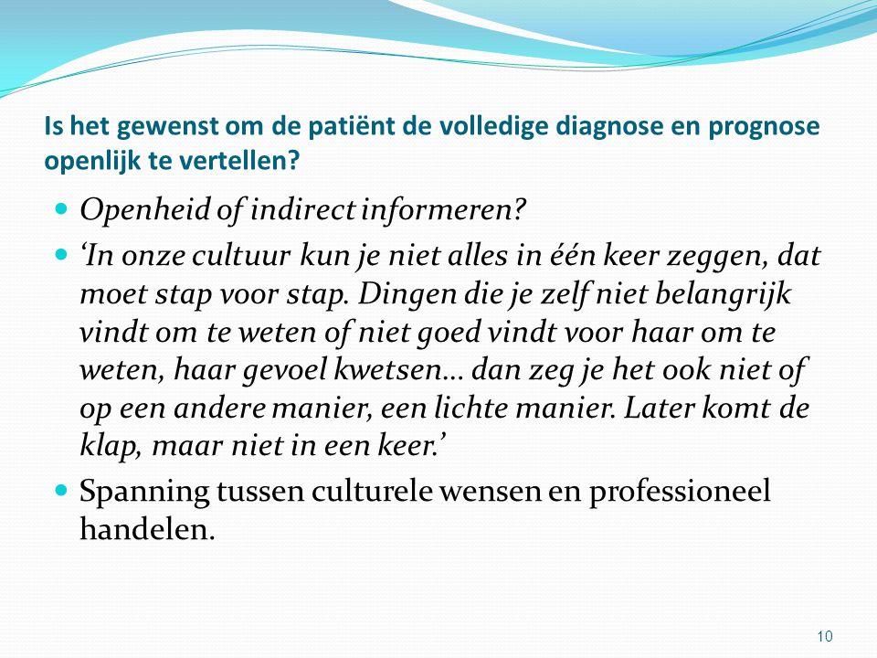 10 Is het gewenst om de patiënt de volledige diagnose en prognose openlijk te vertellen.