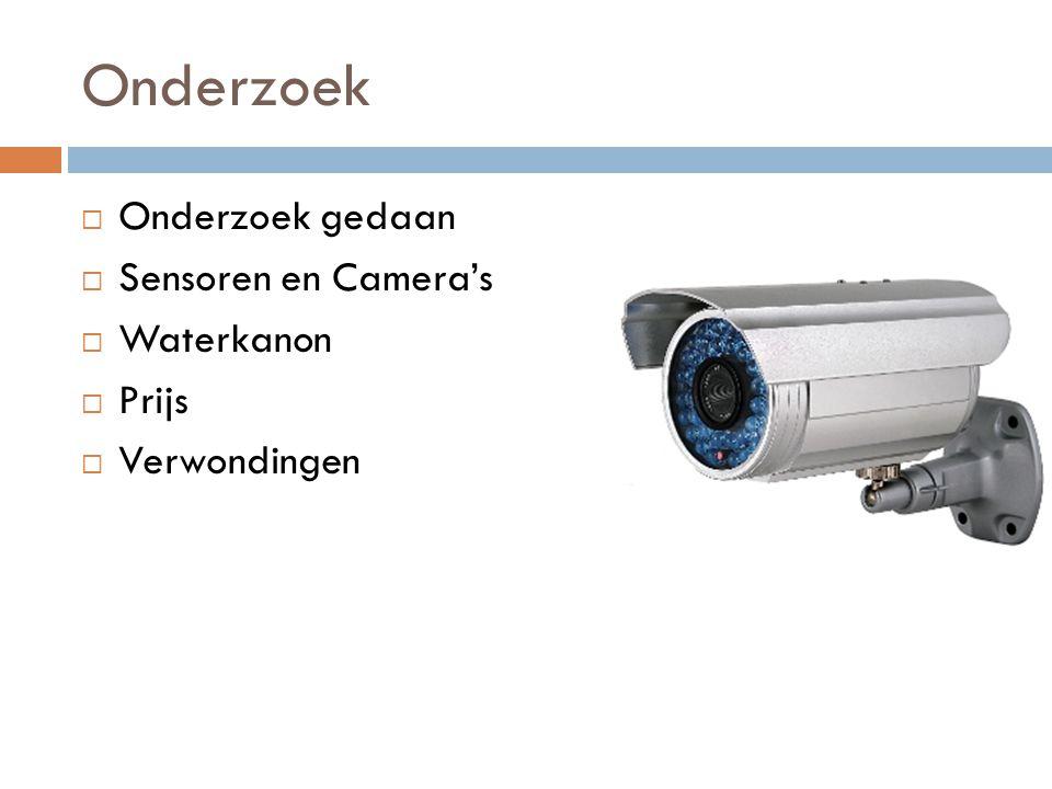 Onderzoek  Onderzoek gedaan  Sensoren en Camera's  Waterkanon  Prijs  Verwondingen