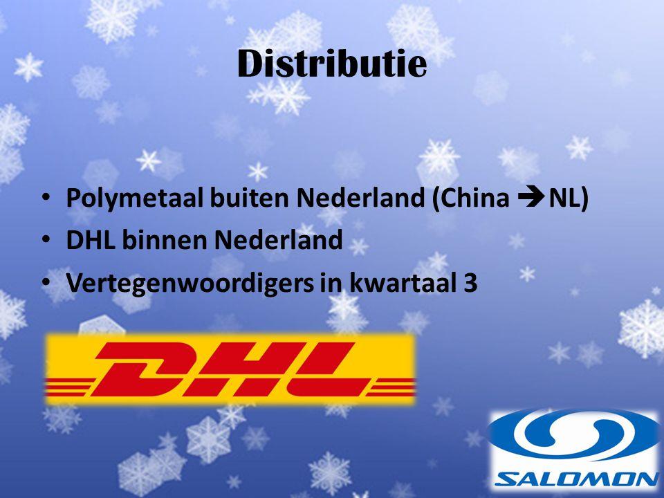 Distributie Polymetaal buiten Nederland (China  NL) DHL binnen Nederland Vertegenwoordigers in kwartaal 3