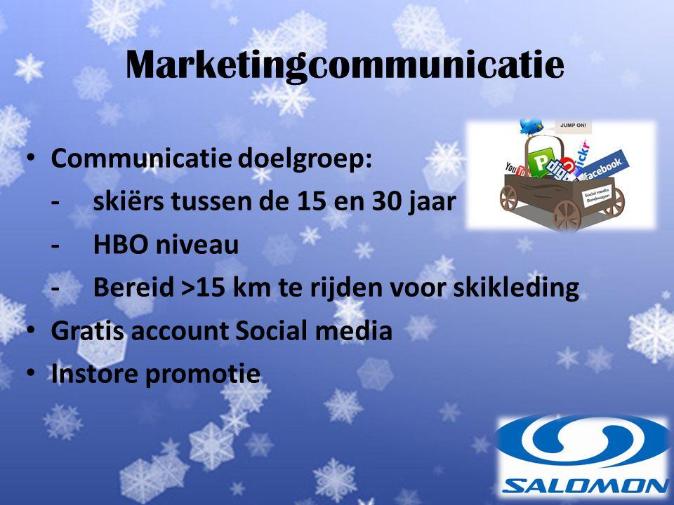 Marketingcommunicatie Communicatie doelgroep: -skiërs tussen de 15 en 30 jaar - HBO niveau - Bereid >15 km te rijden voor skikleding Gratis account Social media Instore promotie