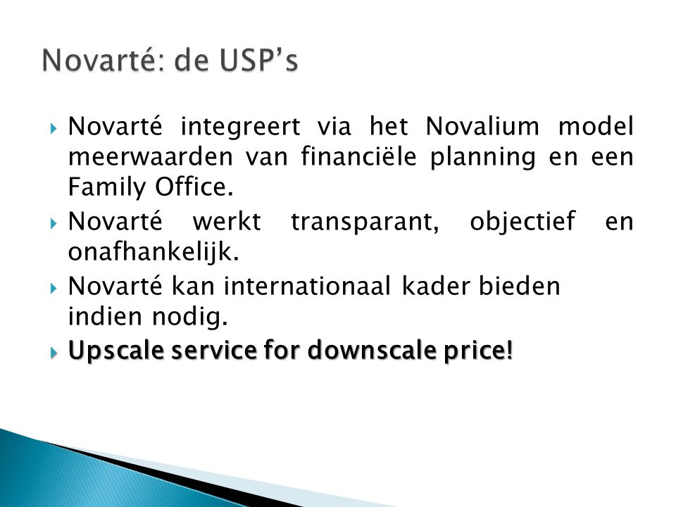  Novarté integreert via het Novalium model meerwaarden van financiële planning en een Family Office.