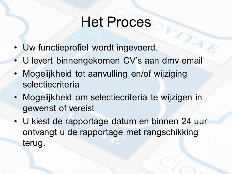 Het Proces Uw functieprofiel wordt ingevoerd.