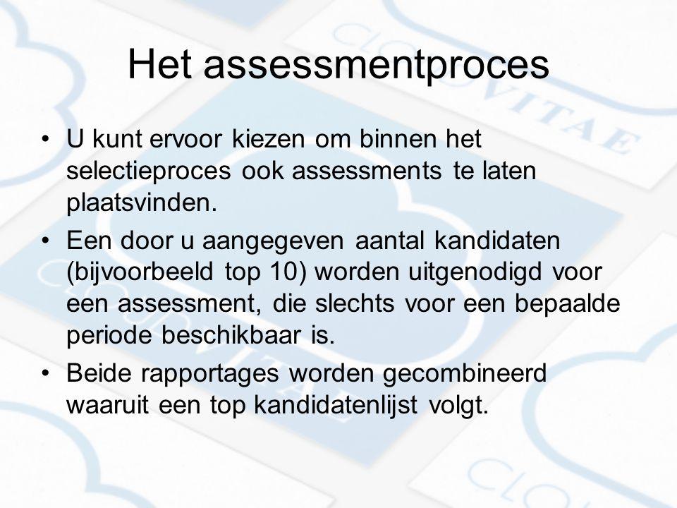 Het assessmentproces U kunt ervoor kiezen om binnen het selectieproces ook assessments te laten plaatsvinden.