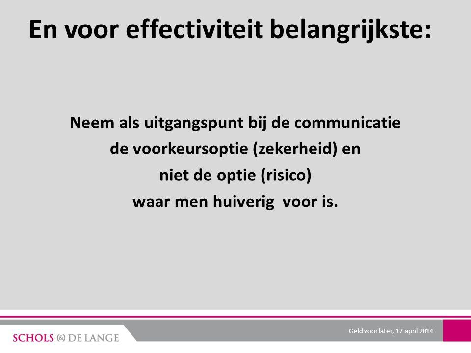 En voor effectiviteit belangrijkste: Neem als uitgangspunt bij de communicatie de voorkeursoptie (zekerheid) en niet de optie (risico) waar men huiverig voor is.