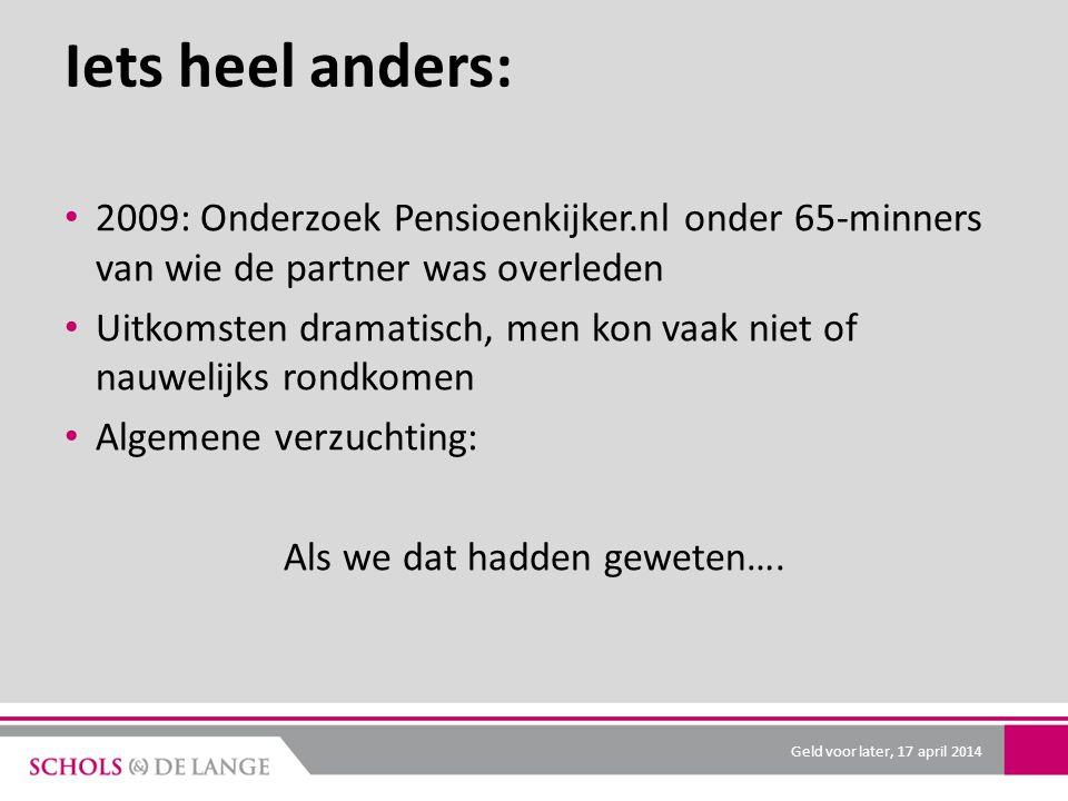 Iets heel anders: 2009: Onderzoek Pensioenkijker.nl onder 65-minners van wie de partner was overleden Uitkomsten dramatisch, men kon vaak niet of nauwelijks rondkomen Algemene verzuchting: Als we dat hadden geweten….