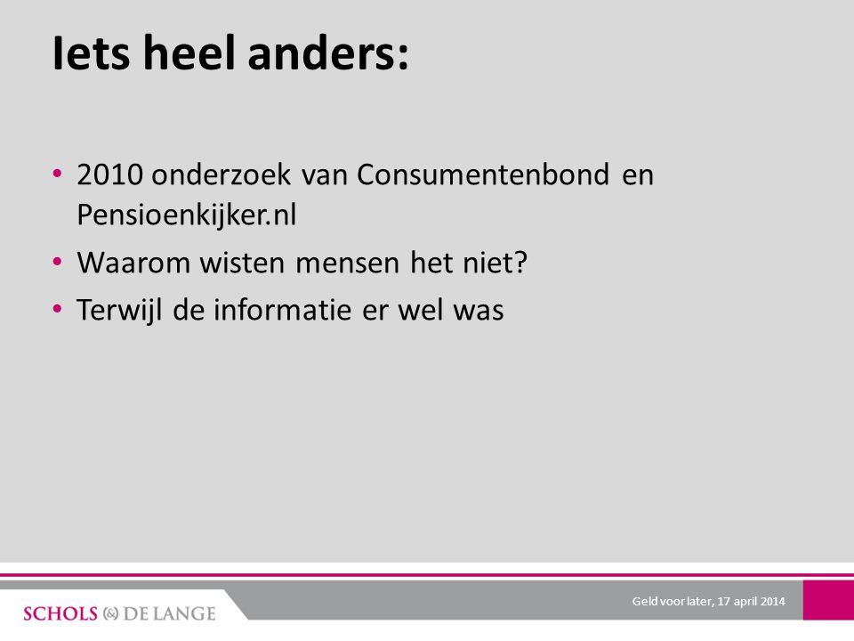 Iets heel anders: 2010 onderzoek van Consumentenbond en Pensioenkijker.nl Waarom wisten mensen het niet? Terwijl de informatie er wel was Geld voor la