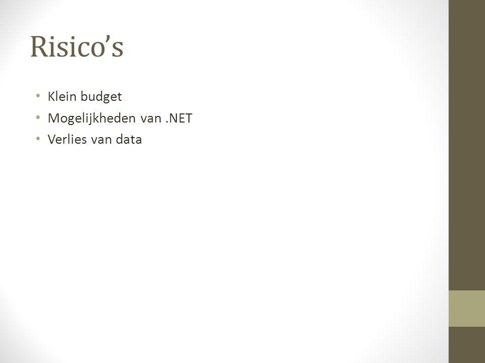 Risico's Klein budget Mogelijkheden van.NET Verlies van data