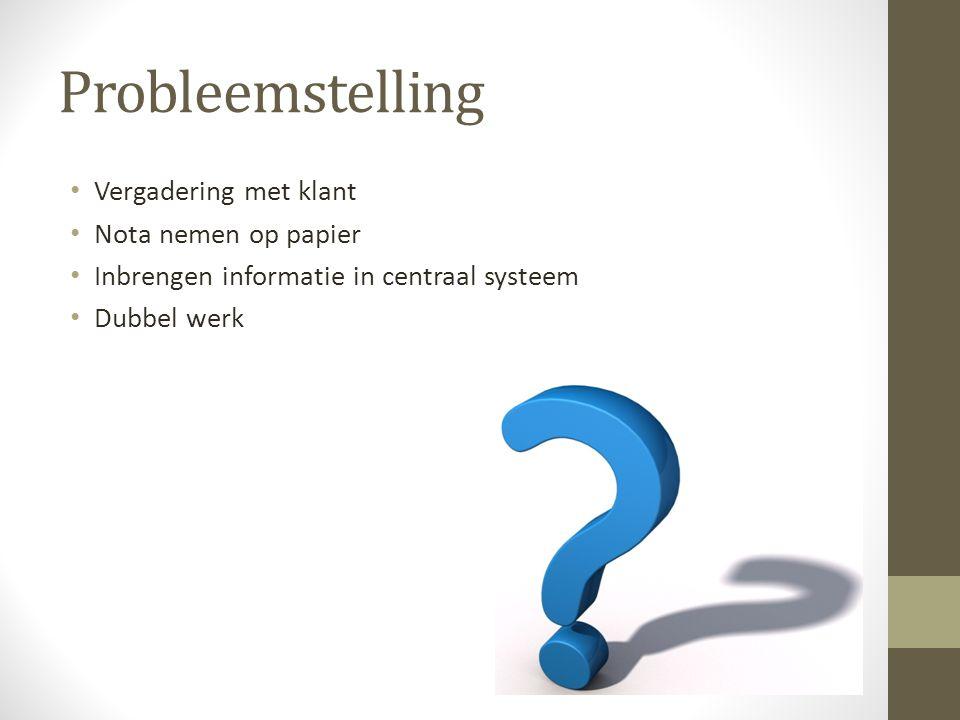 Probleemstelling Vergadering met klant Nota nemen op papier Inbrengen informatie in centraal systeem Dubbel werk