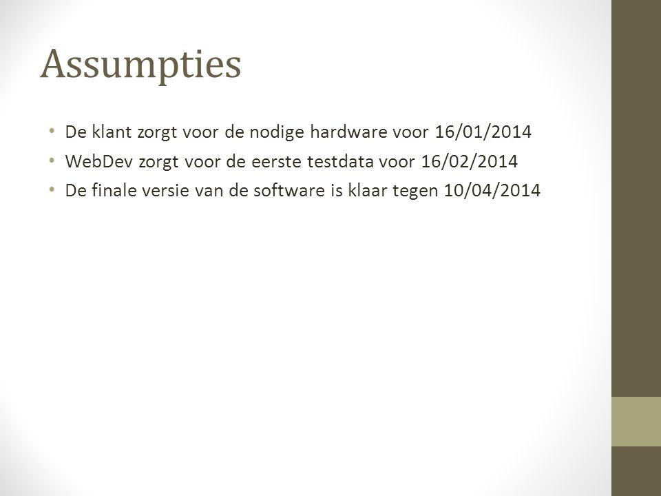 Assumpties De klant zorgt voor de nodige hardware voor 16/01/2014 WebDev zorgt voor de eerste testdata voor 16/02/2014 De finale versie van de software is klaar tegen 10/04/2014
