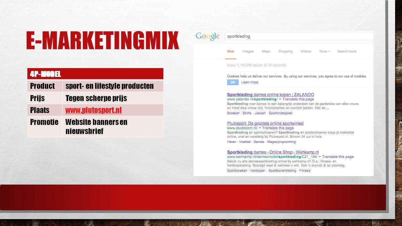 E-MARKETINGMIX 4P-MODEL Productsport- en lifestyle producten PrijsTegen scherpe prijs Plaatswww.plutosport.nl PromotieWebsite banners en nieuwsbrief