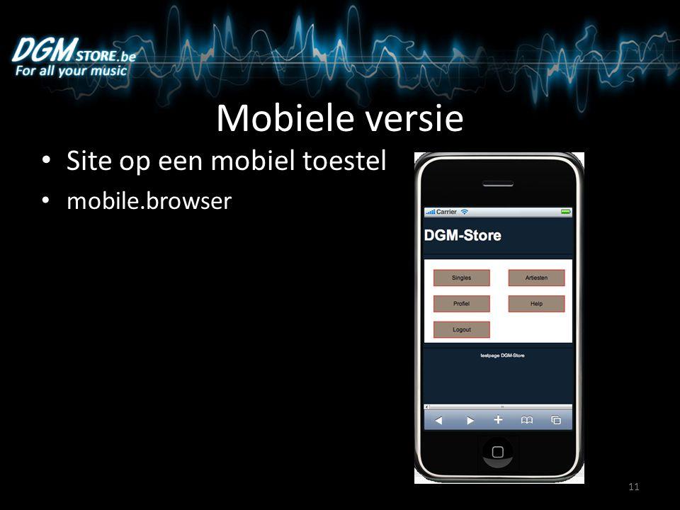 Mobiele versie Site op een mobiel toestel mobile.browser 11